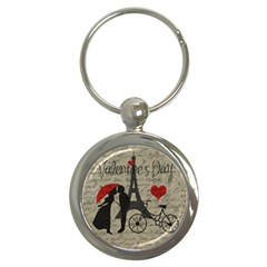 Love Letter   Paris Key Chains (round)  by Valentinaart