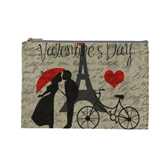 Love Letter   Paris Cosmetic Bag (large)  by Valentinaart