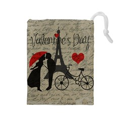 Love Letter   Paris Drawstring Pouches (large)  by Valentinaart