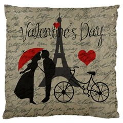 Love Letter   Paris Large Flano Cushion Case (two Sides) by Valentinaart