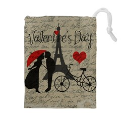 Love Letter   Paris Drawstring Pouches (extra Large) by Valentinaart