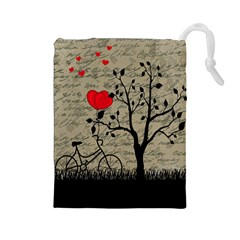 Love Letter Drawstring Pouches (large)  by Valentinaart