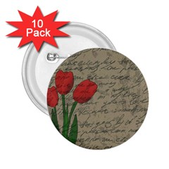 Vintage Tulips 2 25  Buttons (10 Pack)  by Valentinaart