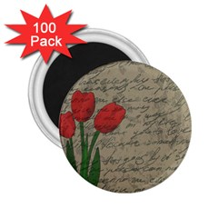 Vintage Tulips 2 25  Magnets (100 Pack)  by Valentinaart
