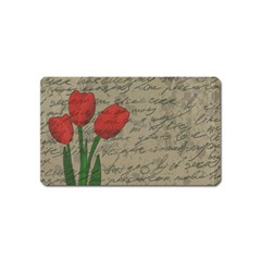 Vintage Tulips Magnet (name Card) by Valentinaart