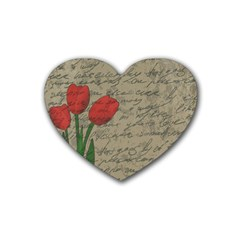 Vintage Tulips Heart Coaster (4 Pack)  by Valentinaart