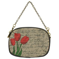Vintage Tulips Chain Purses (one Side)  by Valentinaart