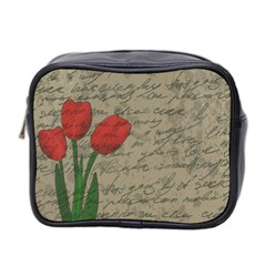 Vintage Tulips Mini Toiletries Bag 2 Side by Valentinaart