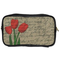 Vintage Tulips Toiletries Bags by Valentinaart