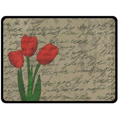 Vintage Tulips Double Sided Fleece Blanket (large)  by Valentinaart