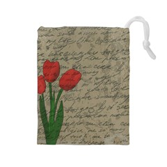 Vintage Tulips Drawstring Pouches (large)  by Valentinaart