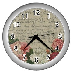 Vintage Roses Wall Clocks (silver)  by Valentinaart