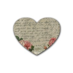 Vintage Roses Rubber Coaster (heart)  by Valentinaart
