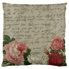 Vintage Roses Large Flano Cushion Case (two Sides) by Valentinaart