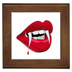 Mouth Jaw Teeth Vampire Blood Framed Tiles by Simbadda