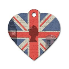 Vintage London Dog Tag Heart (one Side) by Valentinaart