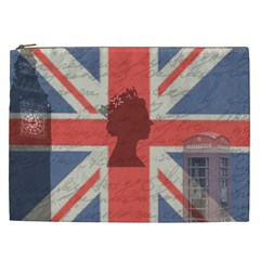 Vintage London Cosmetic Bag (xxl)  by Valentinaart