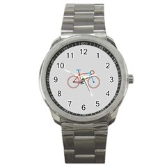 Bicycle Sports Drawing Minimalism Sport Metal Watch by Simbadda