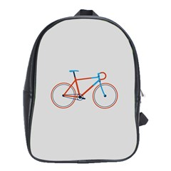 Bicycle Sports Drawing Minimalism School Bags (XL)  by Simbadda
