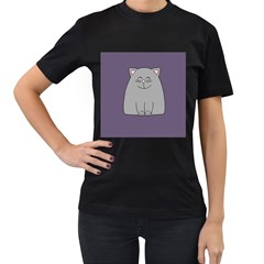 Cat Minimalism Art Vector Women s T Shirt (black) (two Sided) by Simbadda