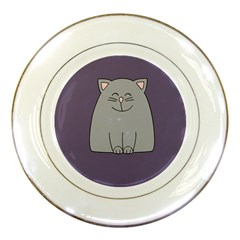 Cat Minimalism Art Vector Porcelain Plates by Simbadda