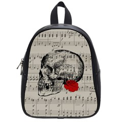 Skull And Rose  School Bags (small)  by Valentinaart