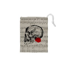 Skull And Rose  Drawstring Pouches (xs)  by Valentinaart