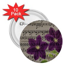 Vintage Purple Flowers 2 25  Buttons (10 Pack)  by Valentinaart