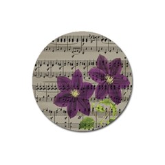 Vintage Purple Flowers Magnet 3  (round) by Valentinaart