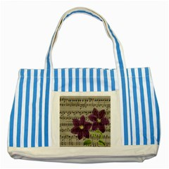 Vintage Purple Flowers Striped Blue Tote Bag by Valentinaart