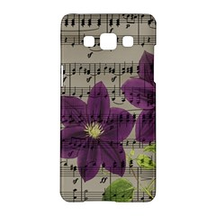 Vintage Purple Flowers Samsung Galaxy A5 Hardshell Case  by Valentinaart