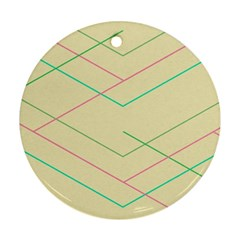 Abstract Yellow Geometric Line Pattern Round Ornament (two Sides) by Simbadda