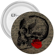 Skull And Rose  3  Buttons by Valentinaart