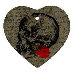 Skull And Rose  Ornament (heart) by Valentinaart