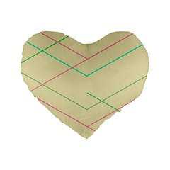 Abstract Yellow Geometric Line Pattern Standard 16  Premium Heart Shape Cushions
