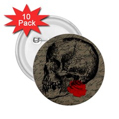 Skull And Rose  2 25  Buttons (10 Pack)  by Valentinaart
