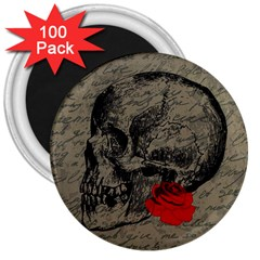 Skull And Rose  3  Magnets (100 Pack) by Valentinaart