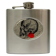 Skull And Rose  Hip Flask (6 Oz) by Valentinaart