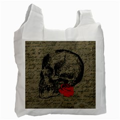 Skull And Rose  Recycle Bag (two Side)  by Valentinaart