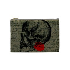 Skull And Rose  Cosmetic Bag (medium)  by Valentinaart