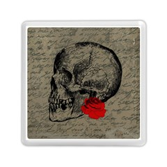 Skull And Rose  Memory Card Reader (square)  by Valentinaart