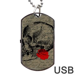 Skull And Rose  Dog Tag Usb Flash (one Side) by Valentinaart