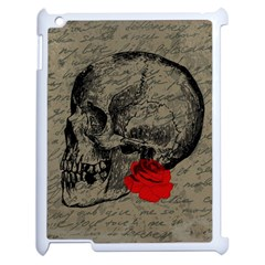 Skull And Rose  Apple Ipad 2 Case (white) by Valentinaart