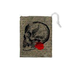 Skull And Rose  Drawstring Pouches (small)  by Valentinaart
