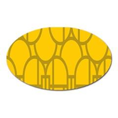 The Michigan Pattern Yellow Oval Magnet by Simbadda