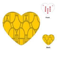 The Michigan Pattern Yellow Playing Cards (heart)  by Simbadda