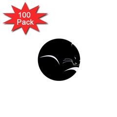 Cat Black Vector Minimalism 1  Mini Magnets (100 Pack)