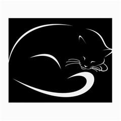 Cat Black Vector Minimalism Small Glasses Cloth (2 Side) by Simbadda