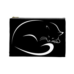 Cat Black Vector Minimalism Cosmetic Bag (large)  by Simbadda