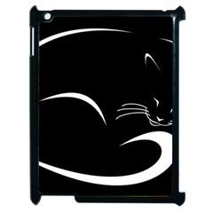 Cat Black Vector Minimalism Apple Ipad 2 Case (black) by Simbadda